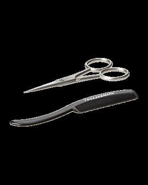 Gear Moustache Scissors & Comb